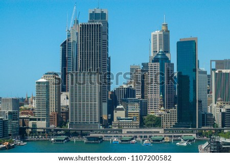 Sydney Harbour, Australia circa 2005. Elevated view overlooking Circular Quay and the central business district. #1107200582
