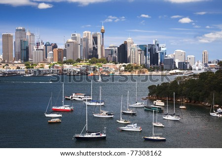 sydney harbour bay boat marina CBD cityscape skyscraper summer sunny day view