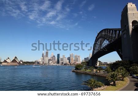 Sydney Harbour Bridge and cityscape from Kirribilli - Sydney Australia - stock photo