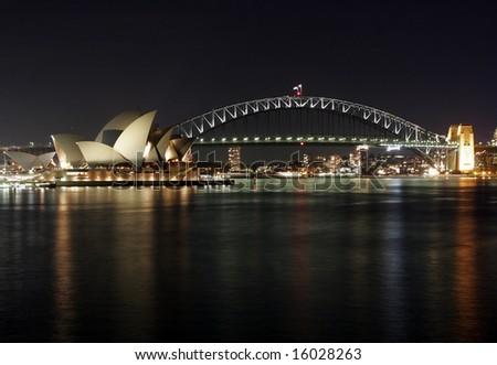 Sydney Harbour Bridge and Opera House at Night - stock photo