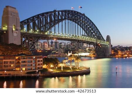 Sydney Harbour Bridge at sunrise - stock photo