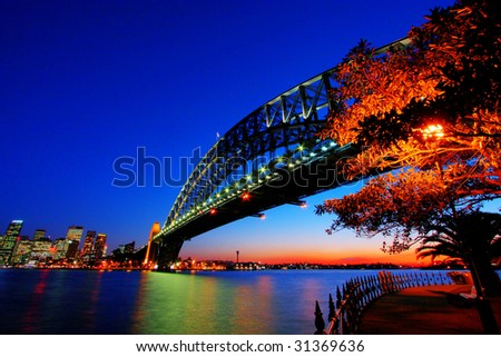 Sydney Harbour bridge in dusk lighting