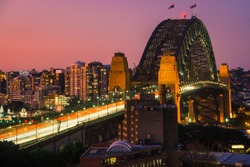 Sydney harbour bridge, Landscape view of Sydney city skyline with Sydney harbour bridge north shore in Australia