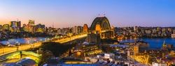 Sydney harbour bridge, Panorama landscape view of Sydney city skyline with Sydney harbour bridge north shore in Australia.