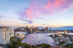 Sydney harbour bridge, Panorama view of Sydney city skyline with Sydney harbour bridge north shore in Australia
