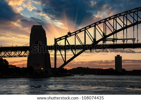 Sydney Harbour Bridge Silhouette at Sunset Australia