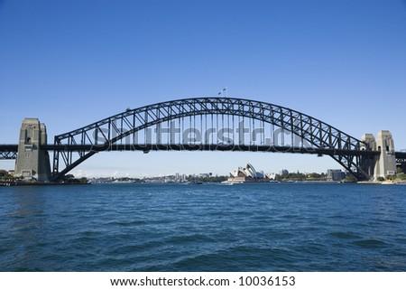 Sydney Harbour Bridge with view of  Sydney Opera House in Australia.