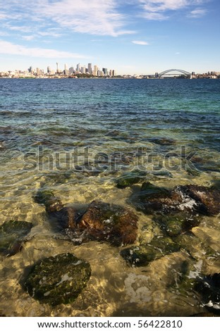 Sydney Harbour, crystal clear water and city skyline