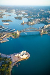 Sydney Harbour from high above aerial view