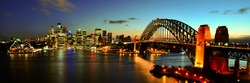 Sydney Harbour night time Panorama viewed from Kirribilli in North Sydney