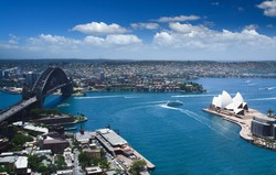 Sydney harbour opera house and downtown panoramic view from bird fly high