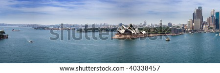 Sydney harbour opera house and downtown panoramic view from bridge