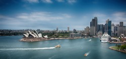 Sydney Harbour Skyline with dramatic toning effect