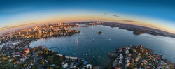 Sydney Harbour sunrise aerial photo with curvature
