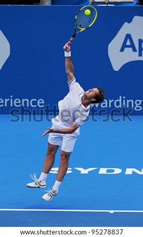 SYDNEY - JAN 12: Richard Gasquet from France serves in his match in the APIA Tennis International. Sydney - January 12, 2012