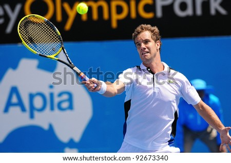 SYDNEY - JAN 12: Richard Gasquet of France hits a volley in his quater final match at the APIA Tennis International. Sydney - January 12, 2012