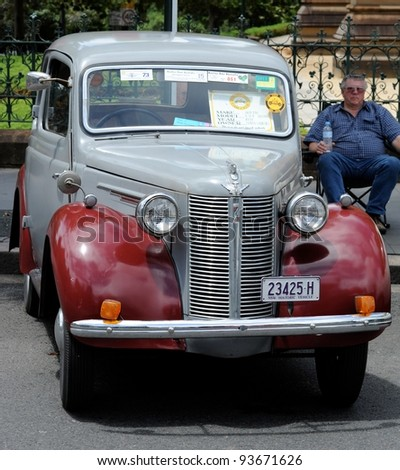 SYDNEY - JANUARY 26: Retro Austen sedan in NRMA Motorfest® on January 26, 2012 in Sydney. NRMA Motorfest® is one of the largest outdoor displays of vehicles and part of Sydney's Australia Day.