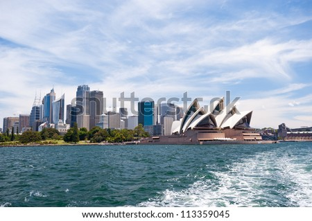 SYDNEY - JANUARY 13: The Iconic Sydney Opera House is a multi-venue performing arts centre also containing bars and outdoor restaurants.January 13, 2012 in Sydney, Australia. #113359045