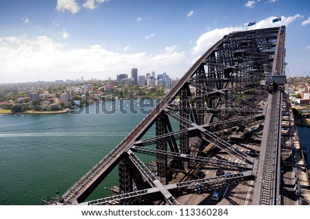 SYDNEY - JANUARY 9 : The Sydney Harbour Bridge was opened  in 1932 and connects Sydney to the North Shore .  January 9, 2012 in Sydney, Australia.