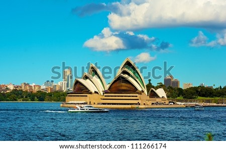 SYDNEY - JULY 8: Sydney Opera House view on July 8, 2012 in Sydney, Australia. The Sydney Opera House is a famous arts center. It was designed by Danish architect Jorn Utzon, finally opening in 1973. #111266174