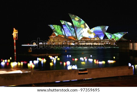 SYDNEY - JUNE 12: Fire Water opens at Campbell Cove, as part of the Vivid Sydney Festival which includes the lighting of the Sydney Opera House sails by Eno in Sydney, Australia on June 12, 2009.