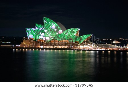 SYDNEY - JUNE 6: Luminous launches with the lighting of the Sydney Opera House sails by Eno, as part of the Vivid Sydney festival June 6, 2009 in Sydney, Australia.