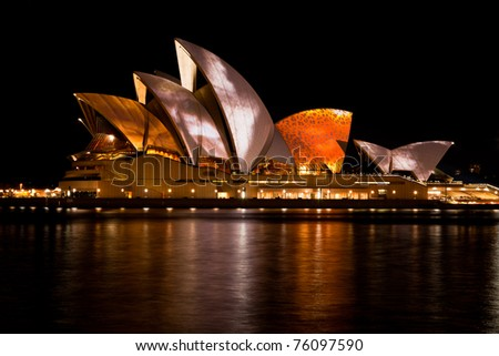 SYDNEY - JUNE 20: Various artists project their designs onto the Sydney Opera House during the Vivid Sydney Festival June 20, 2010 in Sydney, Australia.