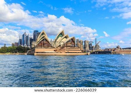 SYDNEY - MAY 11: Opera House on May 11, 2014 in Sydney. It is Identified as one of the 20th century's most distinctive buildings and one of the most famous performing arts centres in the world. #226066039