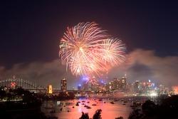 Sydney new year fireworks over CBD Harbour bridge color flash ball