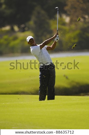 SYDNEY - NOV 11: American golfer Tiger Woods plays a fiarway shot on the 14th at the Emirates Australian Open at The Lakes golf course. Sydney, November 11, 2011