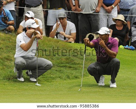 SYDNEY - NOV 10: Tiger Woods and Jason Day at the Emirates Australian Golf Open. Sydney - November 10, 2011