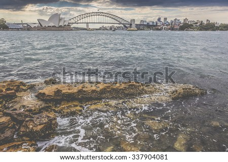 SYDNEY - OCTOBER 25: Sydney Opera House view on October 25, 2015 in Sydney, Australia. The Sydney Opera House is a famous arts center. It was designed by Danish architect Jorn Utzon. #337904081