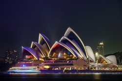Sydney Opera House at night - view from Milsons Point. Sydney, NSW, Australia.