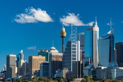 Sydney skyline with Sydney Tower and Sydney Business District skyscrapers on sunny day. Modern cityscape