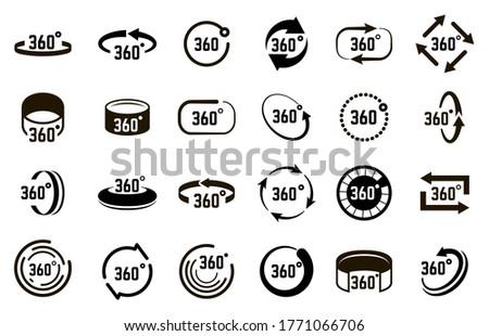 Symbol 360 degrees. Angle 360 degree circle signs, panorama arrows circular elements, circle 360 degrees  illustration icons set. Rotation 360 rotate, 3d view angle, degree panorama