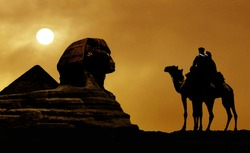 Symbol Egypt's - pyramid, Sphinx, camel and sunset