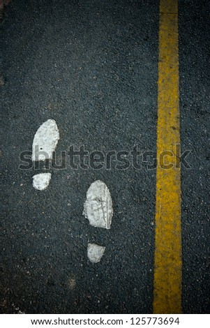 symbol foot walk lane on road