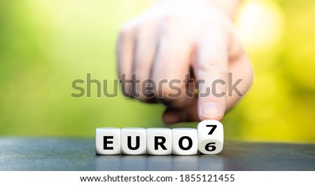 Symbol for the change of the European Emission Regulation from the Euro 6 Emission Norm to the Euro 7 Norm. Photo stock ©