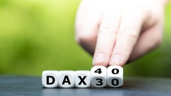 Symbol for the change of the German Stock Market Index Dax30 to Dax40.