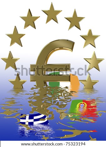stock photo : Symbol for the current euro crisis which affects the European Union and the financial markets worldwide.