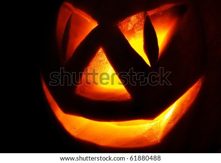 Symbol of a holiday of Halloween: a pumpkin O Lantern on the black. Very terribly :)