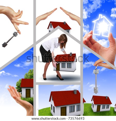 Symbol of a successful real estate business. Collage. Illustrations.