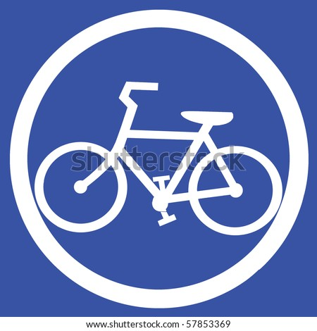 Symbol of Bicycle Lane Sign on Light Blue Background