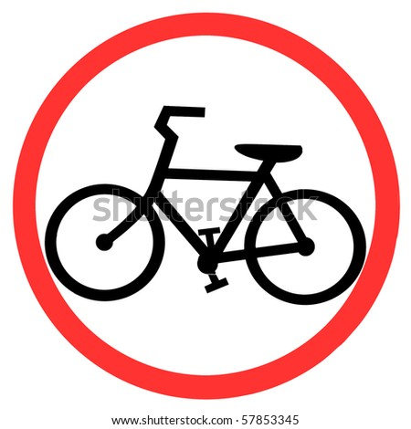 Symbol of Bicycle Lane Sign on White Background