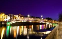 Symbol of Dublin - Ha'penny Bridge over river Liffey