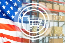 Symbol of e-commerce on background of American flag. Shopping cart icon. Concept - ordering goods from USA. Shopping at American online store. USA flag next to warehouse racks. E-commerce business