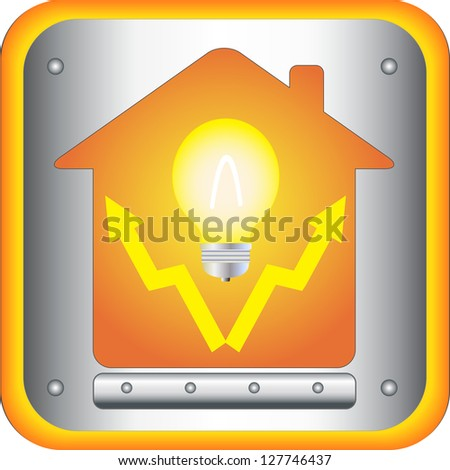 symbol of electrical with bulb and house in button