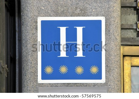 Symbol of four star rated hotel in Madrid. Spain
