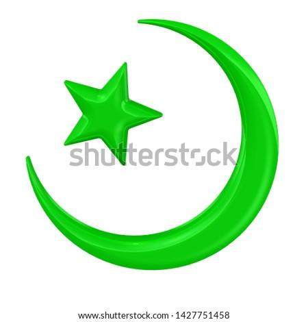 Symbol of Islam. Green symbol of Islam. Isolated. 3D Illustration