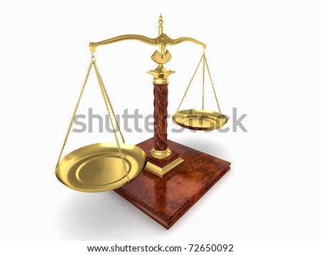 Symbol of justice. Scale on white isolated background. 3d
